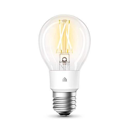 TP-Link KL50 Lampadina Wi-Fi E27, 7 W, Funziona con Alexa e Google Home, 800 Lumen, Dimmerabile dall' 1% al 100%, Controllo da remoto, Nessun hub richiesto, Bianco morbido