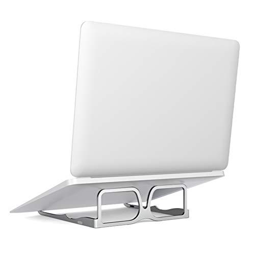 QLOUNI Soporte Portatil Aluminio - Soporte Ordenador Portatil Ventilado Plegable de Estilo de Gafas para Laptops/Tabletas/Kindles (Plata)