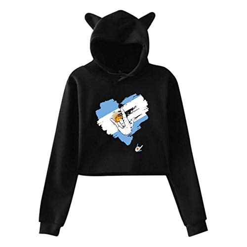WLQP Camiseta sin Mangas para Hombre Girls Cute Cat Ear Hoodie Sweatshirts I Love You Argentina Heart Dew-Navel Hooded Crop Tops