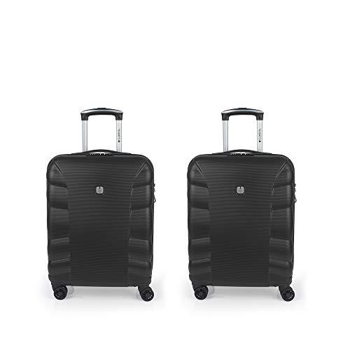 Gabol - London   Juego de Maletas de Viaje Rigidas de Color Negro con 2 Maletas de Cabina