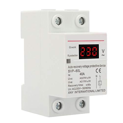 überspannungsschutz und Unterspannungsschutz, 230V 40A Spannungsschutzgerät, Automatische Wiederherstellung DIN Schienenmontage Schutz