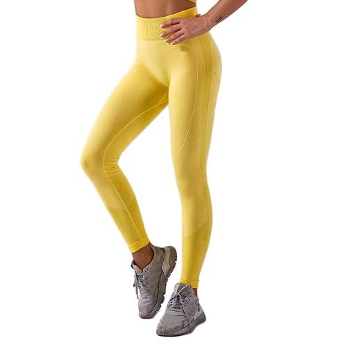 QTJY Pantalones sin Costuras de Yoga para Gimnasio para Mujeres Estiramiento de Cintura Alta Leggings de Fitness para Correr al Aire Libre Pantalones Deportivos G M