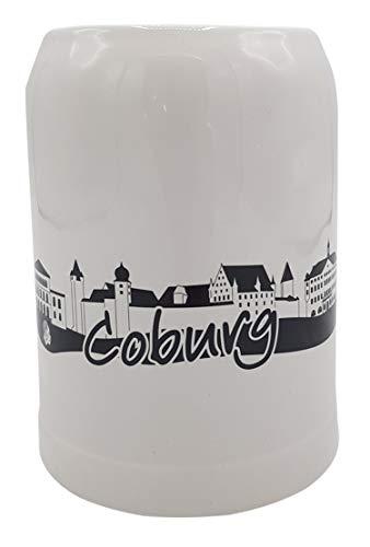 Heimatshop Franken Bierkrug Skyline Coburg | 0.5 l | weiß-schwarz | Steinkrug