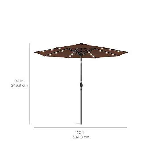 Best Choice Products 10ft Solar LED Lighted Patio Umbrella w/Tilt Adjustment, Fade-Resistant Fabric - Black 7 24 SOLAR-POWERED LIGHTS: Use it day or night, with 24 built-in solar powered LED lights that can run for 6-7 hours HIGH-DURABILITY FABRIC: Made with high-quality water-, UV-, and fade-resistant fabric to last for years of enjoyment ADJUST YOUR SHADE: Stay cool at all times, as the easy push-button tilt system gives coverage no matter what time of day, while a wind vent cools air under the umbrella
