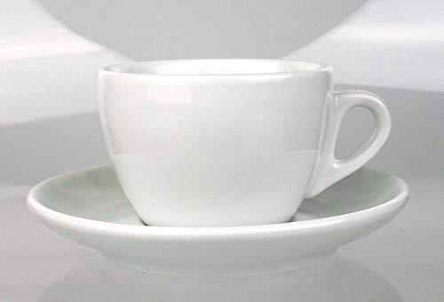 Moka Consorten Italienische Cappuccinotasse | »Verona« | Füllmenge (bis zur Oberkante): 180 ml | weiß | handgemacht | 6 Tassen & 6 Untertassen | Made in Italy