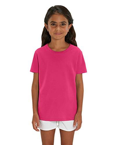 Hochwertiges Kinder T-Shirt aus 100% Bio-Baumwolle für Mädchen und Jungen. Eignet sich hervorragend zum bedrucken. (z.B.: mit Transfer-folien/Textilfolien), Size:152/164, Color:Raspberry