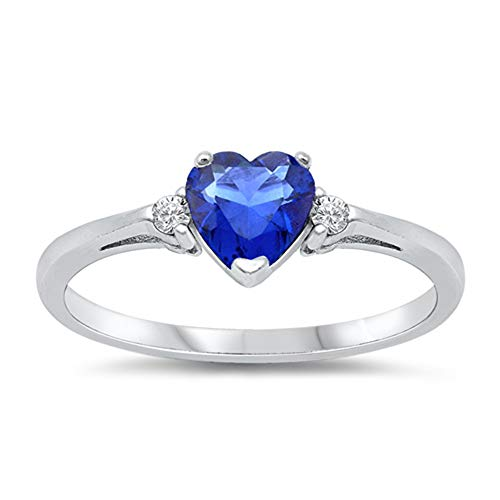 Oxford Diamond Co Blue Simulated Sapphire Heart & White Cubic Zirconia Ring Size 6