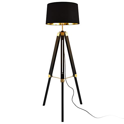 lux.pro Stehleuchte Karlsbad 145cm E27 max. 60W Stehlampe Design Standleuchte Industrial Stand Lampe Metall Schwarz Messingfarbe Innenbeleuchtung Tripod Dreifuß