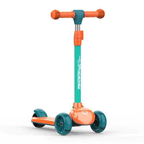 FXJ Premium Kinderroller Nicht leicht zu Rollen, höhenverstellbarer Kick-Roller für Kinder mit 3 Rädern Alter...