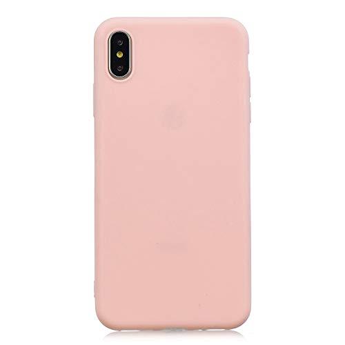 cuzz Funda para iPhone XS+{Protector de Pantalla de Vidrio Templado} Carcasa Silicona Suave Gel Rasguño y Resistente Teléfono Móvil Cover-Rosa Claro