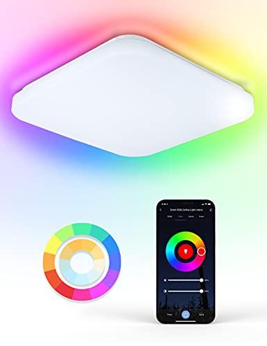 WiFi Plafon Led Techo 24W, Maxcio WiFi Lámpara Led Techo Control de App y Alexa/Google Home con Luz Regulable RGBCCT 2700-6500k, IP54 Plafones Led Cocina para Habitaciones, Cocina, 330*330*70m