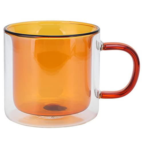 Taza de café, taza de vidrio de 250 ml cilíndrica transparente para vino tinto, vino blanco, agua de soda(amarillo)