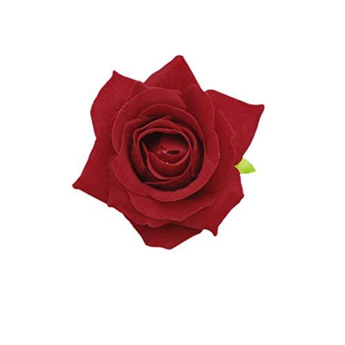 MYhose Pince à Cheveux Rose en Tissu de Velours pour Femmes, Simulation Fleur Artificielle Corsage Broche Broche fête de Mariage Danseuse de Flamenco Accessoires de Cheveux Rouge