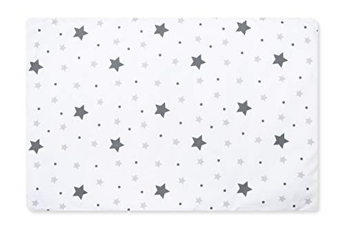 Amilian Bezug (ohne Füllung) für Deko Kissen 60x40 Kissenbezug mit Reißverschlus, fürs Baby, Kinderzimmer 100% Baumwolle Muster: Gute Nacht KLEIN Grau