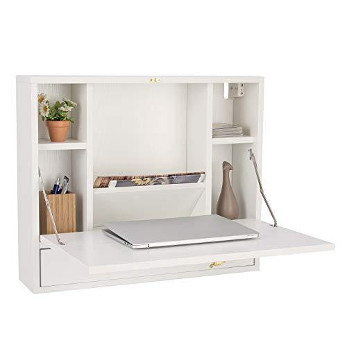 DREAMADE Wandschreibtisch Klappbar, Wandtisch aus Holz, Schreibtisch mit Schublade & 6 Fächern, Hängender Arbeitstisch Wandschrank mit Belastbarkeit max. 20kg (Weiß)