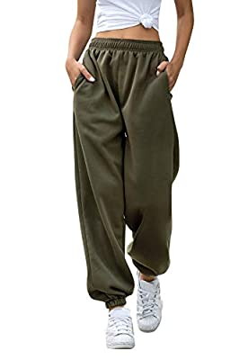 Ru Sweet Women's Active High Waisted Sporty Gym Athletic Fit Jogger Sweatpants Baggy Lounge Pants with Pockets Army Green