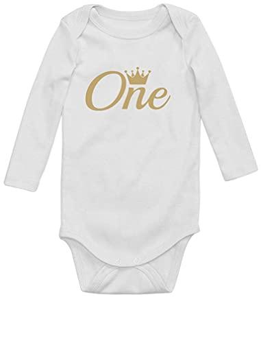 Body de manga larga para niña o niño, regalo de 1 año de edad, corona de cumpleaños para bebé