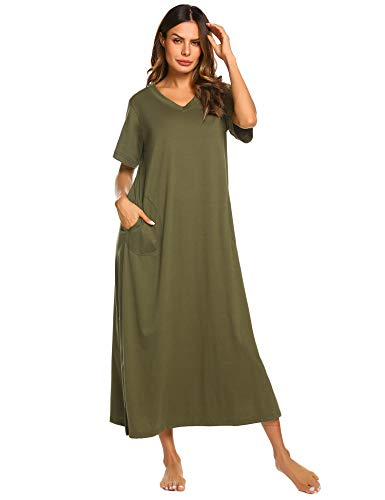 Ekouaer Womens Full Length Long Nightgown with Pockets (Green,X-Large)