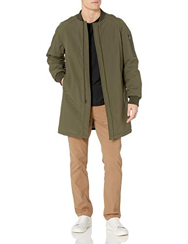 DKNY Men's Slim Fit Long Bomber Jacket, Olive, 44
