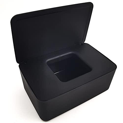 Caja para Toallitas Húmedas,Caja de almacenamiento de pañuelos Dispensador de toallitas humedas Caja de servilletas Caja toallitas,para Oficina en Casa (black)