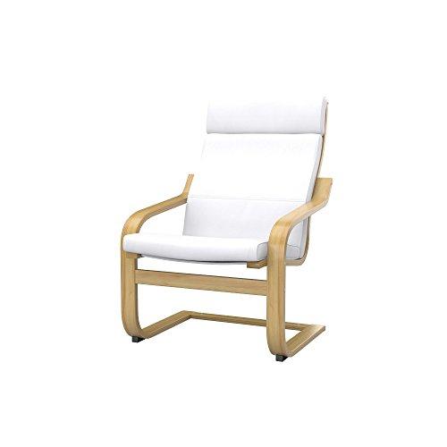 Soferia - IKEA POÄNG Funda para sillón, Eco Leather White