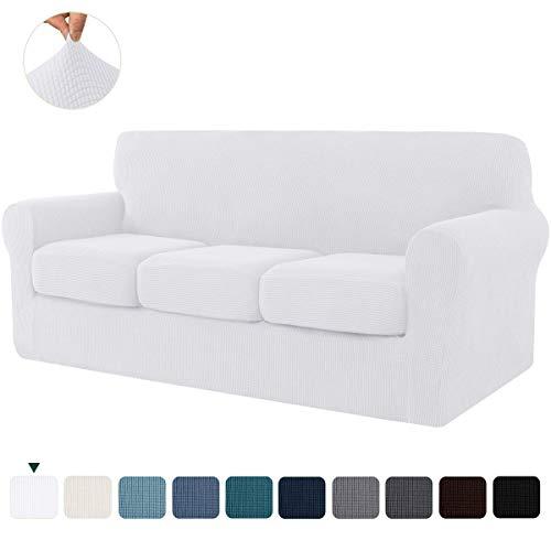 CHUN YI Jacquard Sofabezug mit separatem Sitzkissenbezug, Stretch Sofahusse für 3-sitzer Sofa, Elastische Polyester-Stoff mit mehrere Farben (3-sitzer, Weiß)
