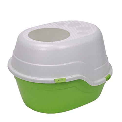 Trainingsplaat, Pet Toilet Top Entry Kattenbak Grote Hooded Diepe Huisdier Pan Toilet Loo Kat Toilet Kat Toilet Hond Toilet (Kleur : Groen, Maat : 40 * 55 * 45cm)