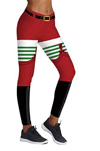 COCOLEGGINGS Ladys Ugly Santa Claus Print Ankle Length Christmas Leggings L/XL