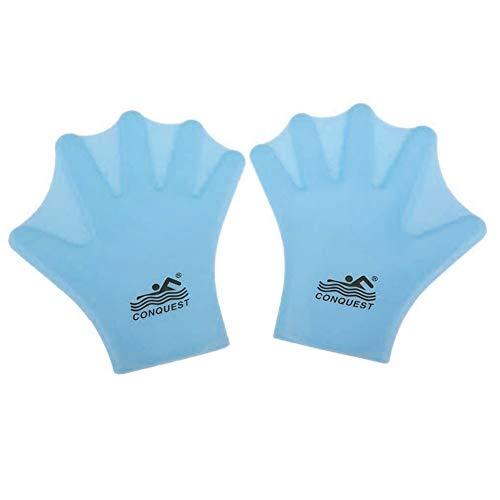 NINIWA Guantes de natación con paletas acuáticas de dedo completo aletas de mano para hombres y mujeres, buceo, surf, entrenamiento, azul 1 par