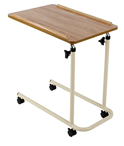 Days Overbed Table with Castors, Laptop Desk with Wheels, Bedside Table, Study Desk, Fully Adjustable Height and Angle, Laminated Top, Flat Packed