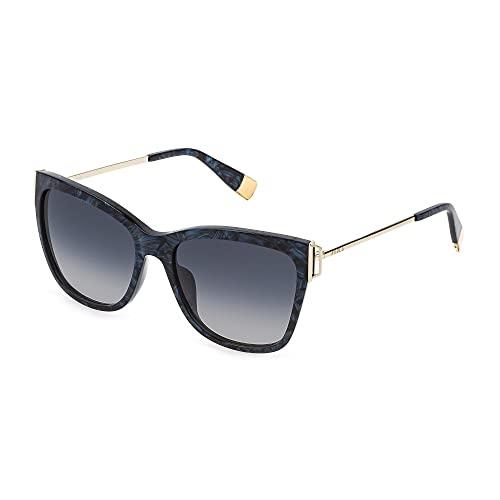 FURLA Gafas de sol SFU462 02G2 55 – 17 – 135 para mujer, azul nacarado, lentes azules degradados rosa