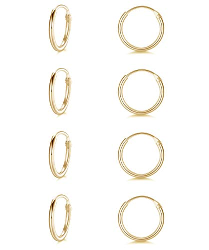 Sterling Silver Small Cartilage Hoop Earrings for Men & Women, 4 Pairs of Hypoallergenic Earrings (8mm4 Pairs-Gold)