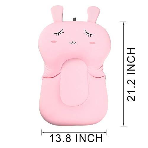 UNAOIWNベビーバスクッション、新生児バスアンチスリップクッションシート、幼児フローティング浴バスタブパッド、シャワーベッドのセキュリティを保証 (ピンクのウサギ)