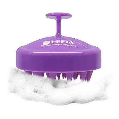Heeta Hair Scalp Massager, Updated Wet and Dry Hair Shampoo Brush Scalp Massage Brush with Soft Silicon Rubber Brush for Women, Men, Pet (Purple)