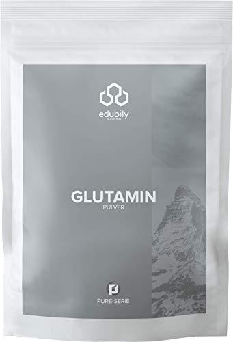 edubily® Glutamin Pulver • Reines Glutaminpulver ohne Zusatzstoffe • Vegane Aminosäure aus Fermentation • 500 g im Beutel zu 100% recyclingfähig