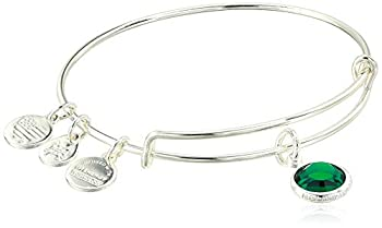Alex and Ani Birthstones Expandable Bangle for Women Emerald Crystal Charm for May Shiny Silver Finish 2 to 3.5 in