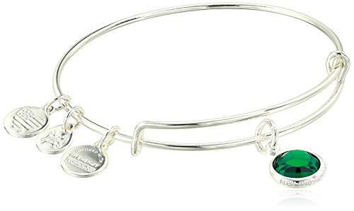 Alex and Ani Replenishment 19 Women's Swarovski Code Charm Bangle May, Emerald Color, Shiny Silver, Expandable