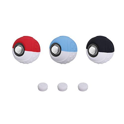 CHIN FAI Estuche Controlador Poké Ball Plus, empuñadura de Silicona Antideslizante para Pokemon Lets Go Juego de Pikachu/Eevee para Nintendo Switch con Palillos para Pulgares - Paquete de 3