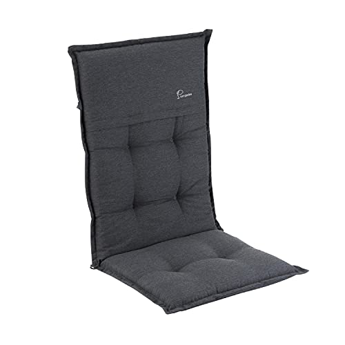 Homeoutfit24 Elbe - Cojín para sillas de jardín, Hecho en Europa, Respaldo Alto de dralón, Lavable, Banda elástica Ajustable, Relleno Espuma, Resistente Rayos UV, 1 Unidad, Gris Oscuro