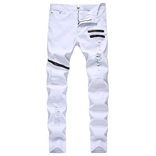 Pantalones Vaqueros para Hombre Europeo y Americano Cremallera Pantalones Vaqueros Casuales Multibolsillos Personalidad Ripped Slim Jeans de Pierna Recta 34