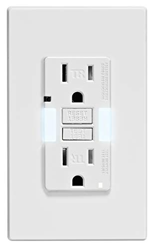 Leviton GFNL1-W Self-Test SmartlockPro Slim GFCI Tamper-Resistant Receptacle with Guidelight and LED Indicator, 15-Amp, White