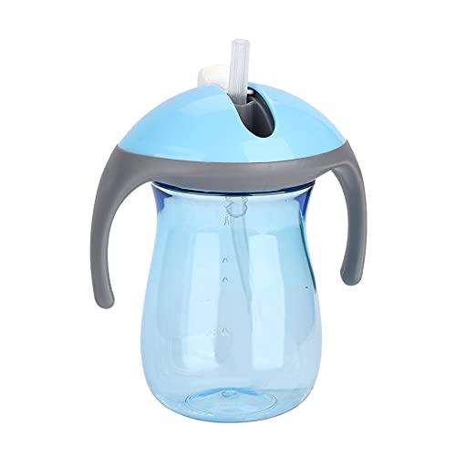 Atyhao Botella de Agua para bebé, Botella de Agua portátil de 270 ml con Asas Dobles y Taza de Entrenamiento con Pajita para bebés(Azul)
