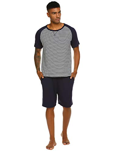 Pyjama Herren Kurz Schlafanzug Kurzarm Gestreiftes Jugend Schlafanzüge Zweiteiliger Anzug mit Top Streifen Hemd und Unifarbe Hosen für Sommer Blau M