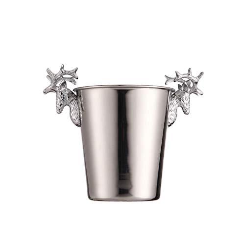 Cubo de Hielo de Barra Cubo de hielo de acero inoxidable Cubo de hielo Portátil Bucket Hotel Bucket Champagne Bucket Bebida Bucket Fiesta Actividades y Camping Vajilla Cubo de Champán ( Color : B )
