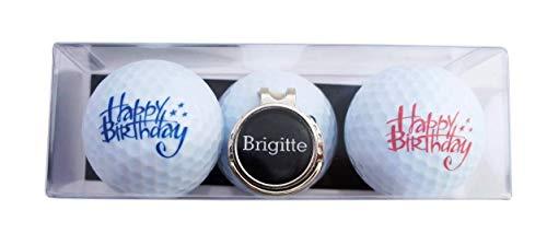 RoLoGOLF Geschenk-Set: 2 Golfbälle mit Happy Birthday - Schriftzügen und Cap-Clip + Marker mit VORNAMEN, über 1500 Namen sofort erhältlich! Geschenk Idee