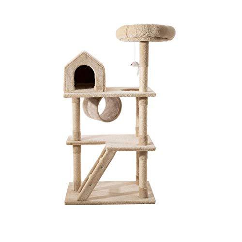 ZJHTK Cat Tree, Sisal Scratching Post, Detachable Cat Litter, Tree House, Plush Toys, Mini Stairs, 4060110cm, Beige