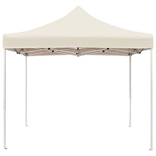 Ausla Pabellón de Fiesta Plegable 2 x 2M, Cenador de Jardín Resistente a los Rayos UV, Carpa de jardín Plegable para Exterior, Crema