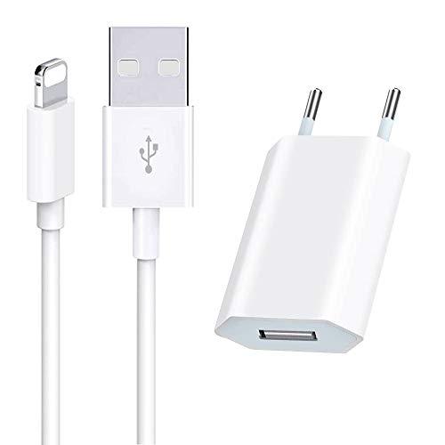 Kensou USB Ladekabel mit Netzteil, USB Ladegerät und Ladekabel Phone Ladekabel und Netzteil Adapter Ladeset für Phone 12 11 Pro Max X XS XR Max 8 8 Plus 7 7 Plus 6 6 Plus 6s 5s SE-Weiß