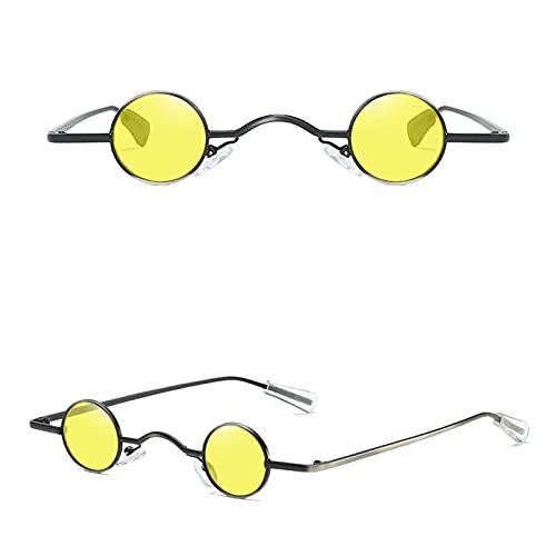 shandianniao Gafas de Sol Hombre Falda Vintage Punk Hombre Gafas de Sol Clásicas Pequeñas Gafas de Sol Redondas Mujeres Puente Ancho Marco Metal Lente Black Lente Eyewear (Color : B)