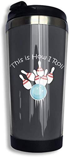 Kaffee-Reisebecher 10-Pin Bowling Flasche Auto Becher Tasse Eistee oder wasserisolierte Thermotasse Edelstahl zum Wandern, Camping & Arbeiten